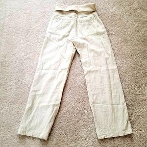 Linen wide leg fold over beach pants Size Medium